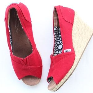 TOMS Red Open Toe Canvas Wedge Heels 7.5